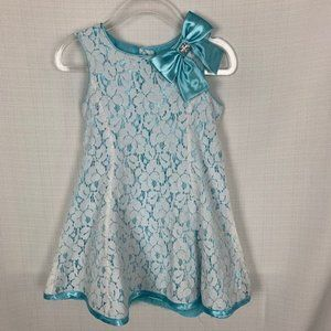 Holiday Editions Turquoise and White Lace Dress